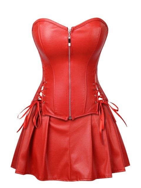 94e317637de Plus Size Strapless Lace Up Corset with Mini Skirt - RED 2X