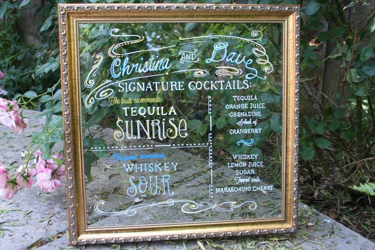Signature Drink menu. vintage frame