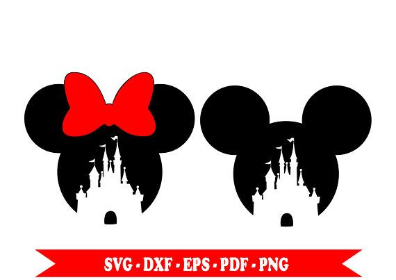 Minnie, Mickey Disney Castle svg, clip art, digital format svg, eps, pdf, png, dxf. For Silhouette Cameo, vinyl, embroidery, cut file