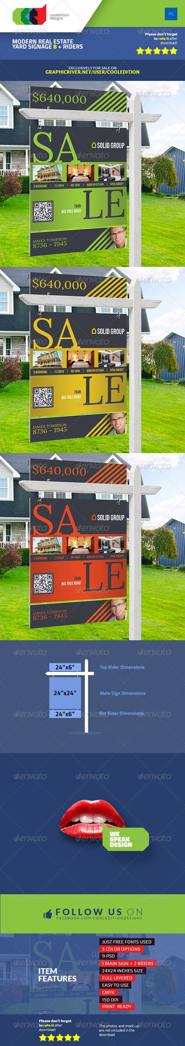 Modern Real Estate Yard Signage 8 + Riders — Photoshop PSD #yard #home • Available here → https://graphicriver.net/item/modern-real-estate-yard-signage-8-riders/7569906?ref=pxcr