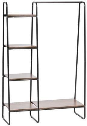 IRIS USA IRIS Metal Garment Rack with Wood Shelves, Black and Dark Brown