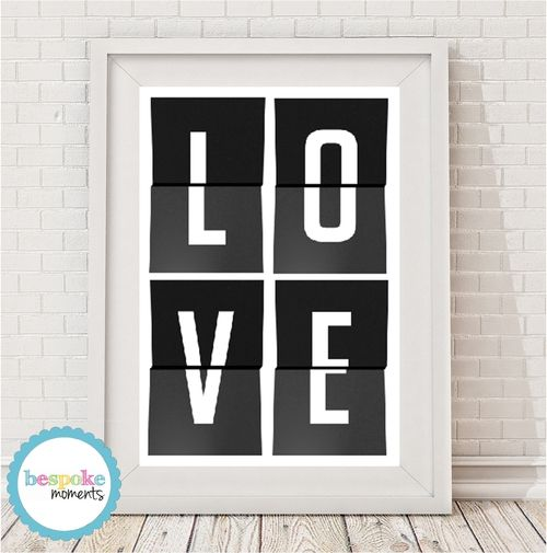 Love Monochrome Print by Bespoke Moments. Worldwide Shipping Available.