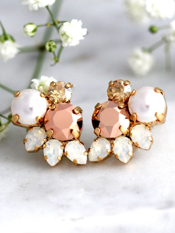 Rose Gold Earrings, Bridal Rose Gold Earrings, Cluster Earrings, Bridesmaids Earrings, Pearl Stud Earrings, Swarovski Earrings, Opal Studs  These fabulous vintage inspired earrings can be worn in a variety of ways for many occasions. The classic styling & Crystals make these earrings timeless.  Details : ♥ U.S packages shipped via USPS® insured+USPS® tracking number ♥ 1 year guarantee ♥ Materials- 14 k Gold or silver Plated over brass CRYSTALLIZED™ Swarovski Element ♥ Post on top ♥ Size ...