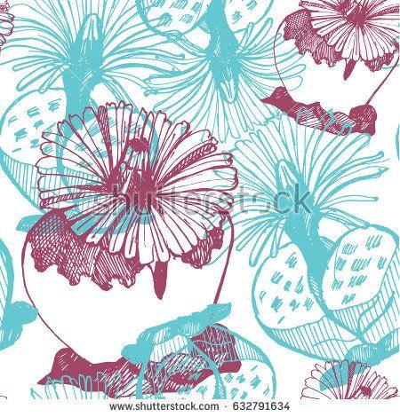 Seamless pattern of hand-drawn lithops. Botanic blue-violet light background.