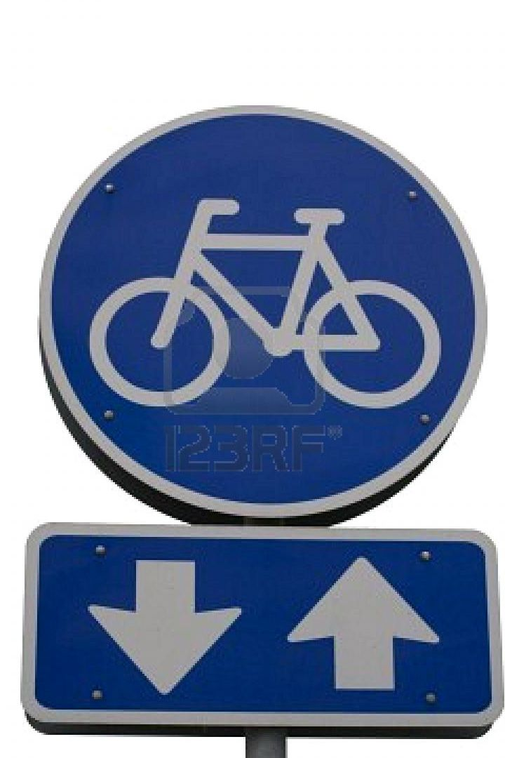 Bicyclists are allowed to ride in both directions. Keep your right free!  When there are no arrows, cycling is only allowed in one direction.