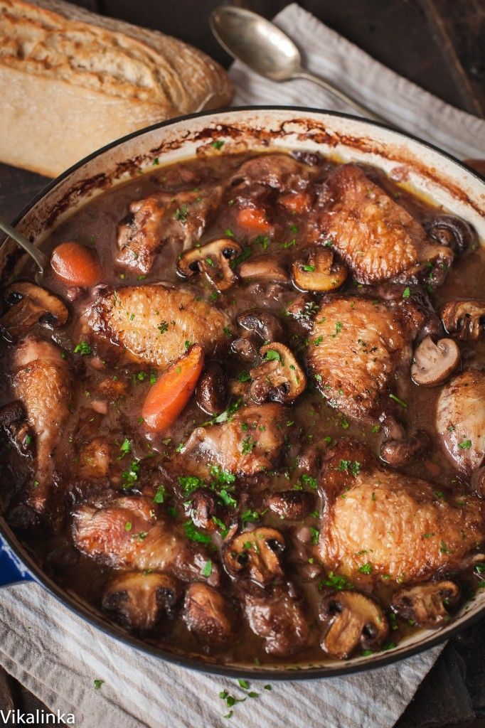 Warm and comforting chicken braised in red wine-the best of French country…