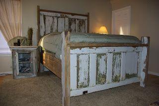 Vintage Door Headboard #Vintage #DIY #QueenofHearts www.facebook.com/QueenofHeartsAntiques