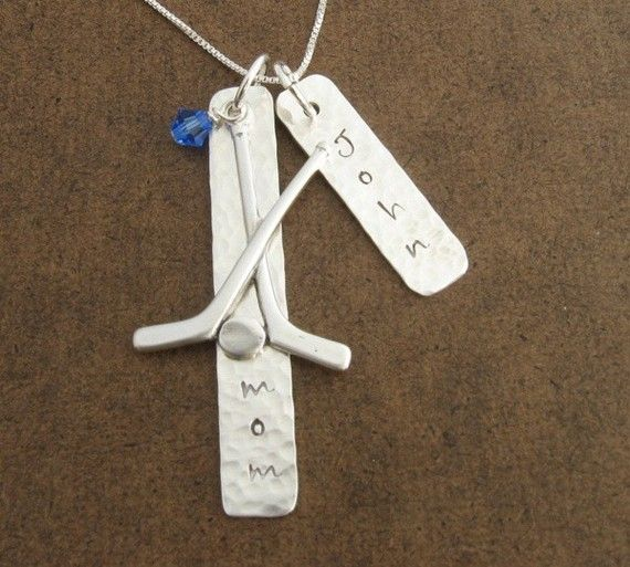 Hockey Mom Pendant with Player's Name by ChipmunkHollow on Etsy, $44.00