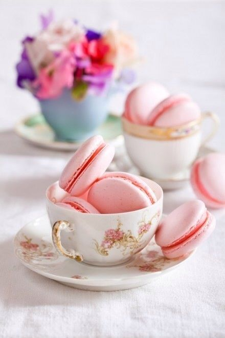 teacup and macarons