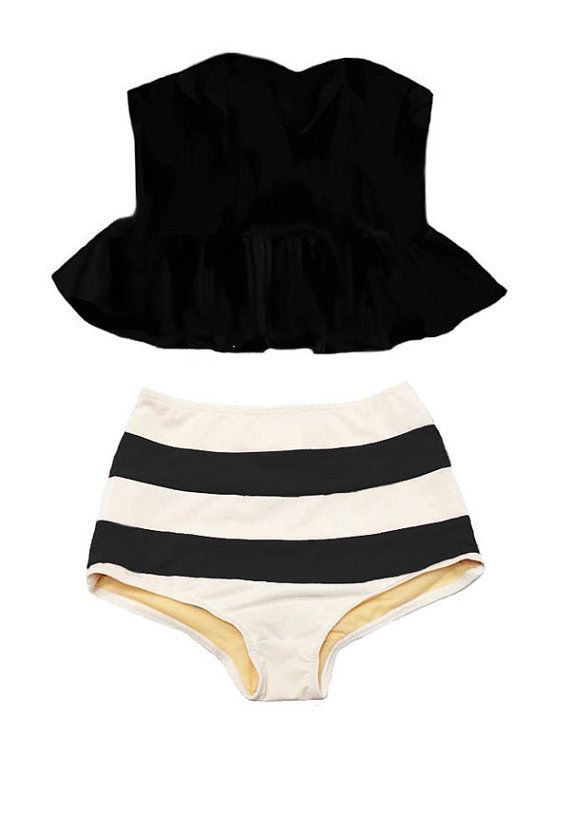 Black Strapless Long Peplum Tankini Top and Stripe Striped High Waisted Waist Bottom Swimsuit Bikini Swimwear Swimming Bathing suit S M L XL