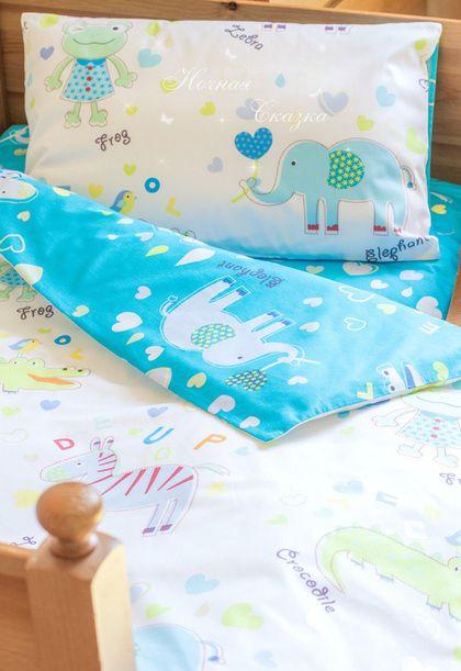 Комплект в кроватку детское постельное белье Зоопарк синий - морская волна