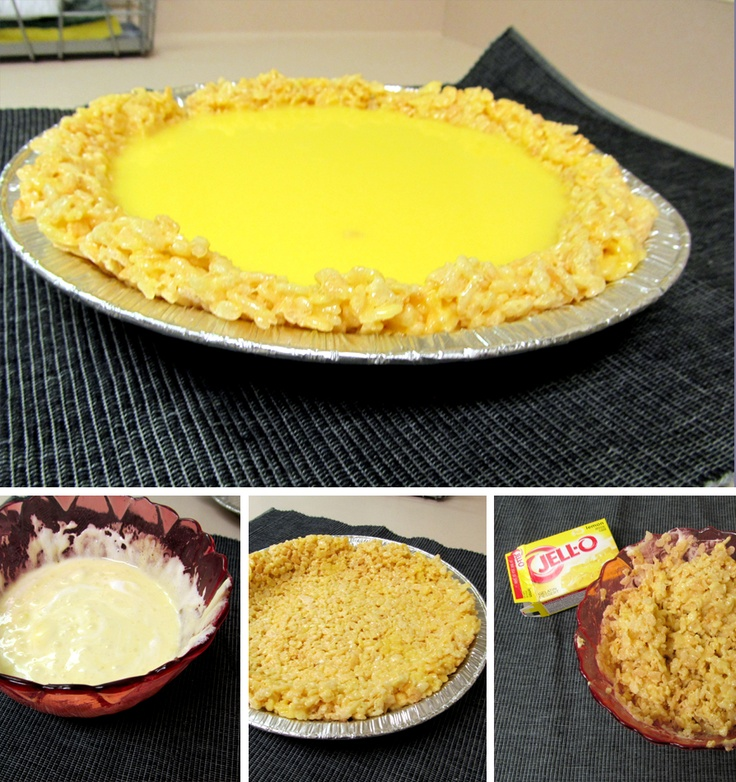 Easy JELLO Marshmellow Crispy Lemon Pie | Foodies | Pinterest