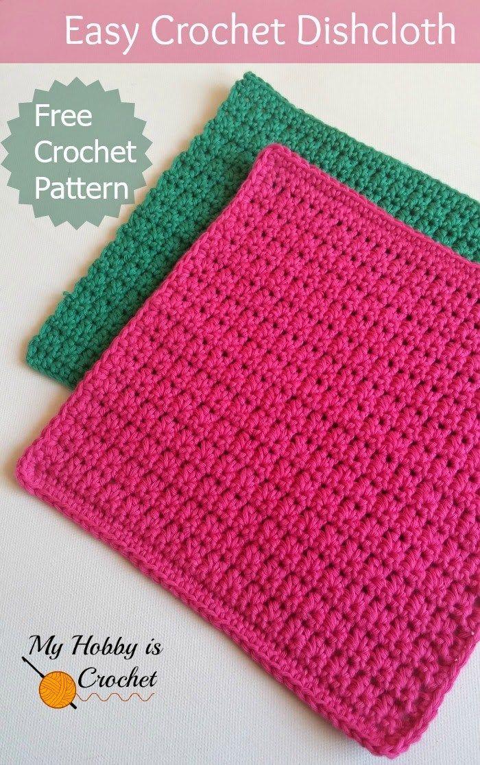 easy crochet dishcloth - free pattern by myhobbyiscrochet