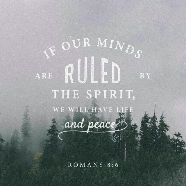 """For to set the mind on the flesh is death, but to set the mind on the Spirit is life and peace."" Romans 8:6"