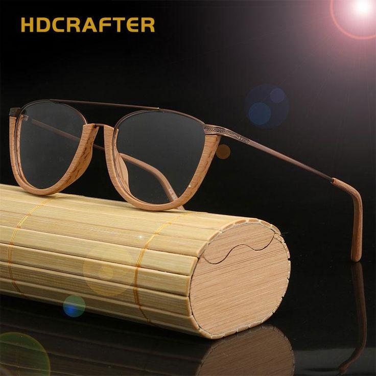 34e6d39951c HDCRAFTER Vintage Semi Rimless Eyeglasses Wood Optical Glasses Frame Bamboo Eyeglasses  Eyewear Frames Men Spectacles Reading