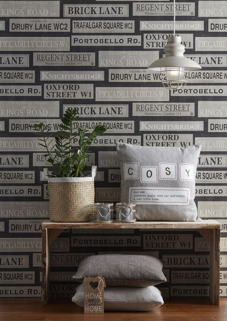 London Black U0026 Gold London Street Names Mica Effect Wallpaper