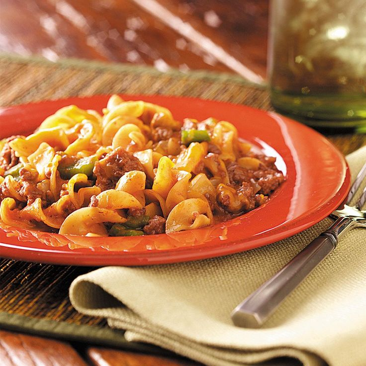 Beef and Noodle Casserole Recipe -When I was working on the local election board in the '50s, one of my co-workers gave me this recipe, and it has been a family favorite ever since. It's quick to make for unexpected company or easily doubled for a potluck.