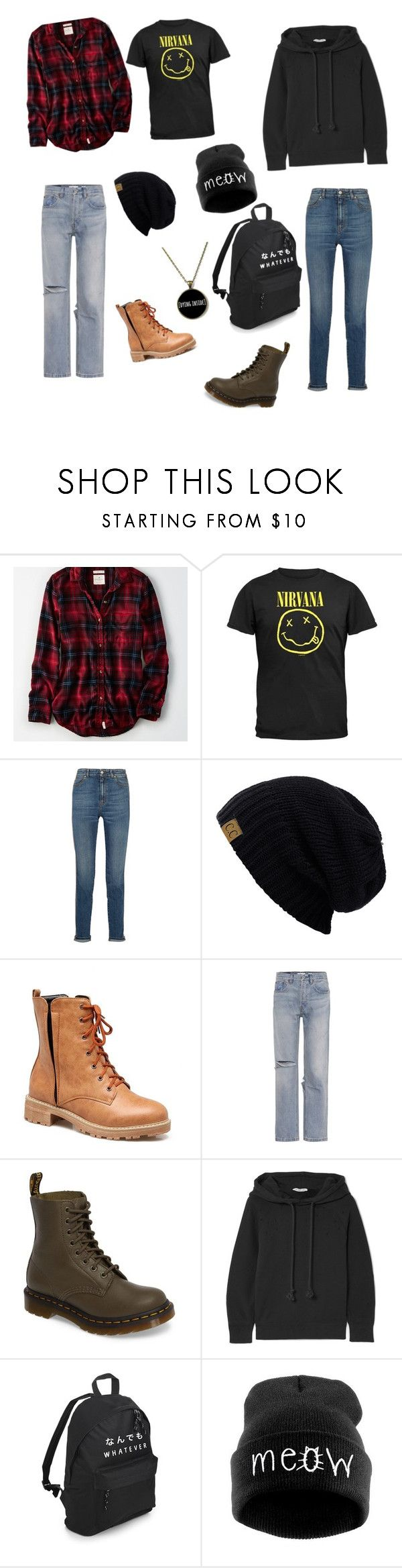 """""""Grunge Teen"""" by oni-hime on Polyvore featuring American Eagle Outfitters, Alexander McQueen, C.C, RE/DONE, Dr. Martens, Helmut Lang and WithChic"""