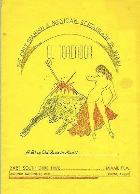 El Toreador Spanish Restaurant Menu Miami Florida 1950's Nude Woman Bull Fighter