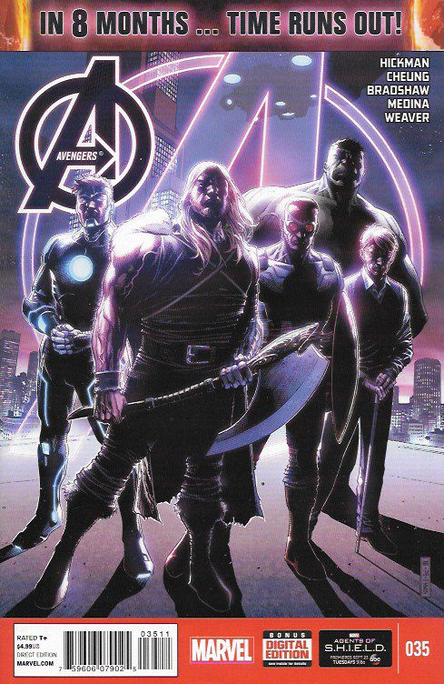 The Three Avengers _Written By Jonathan Hickman. , Art Jim Cheung, Dustin Weaver, Nick Bradshaw and Paco Medina, Cover Art Jim Cheung , IN 8 MONTHS...TIME RUNS OUT!