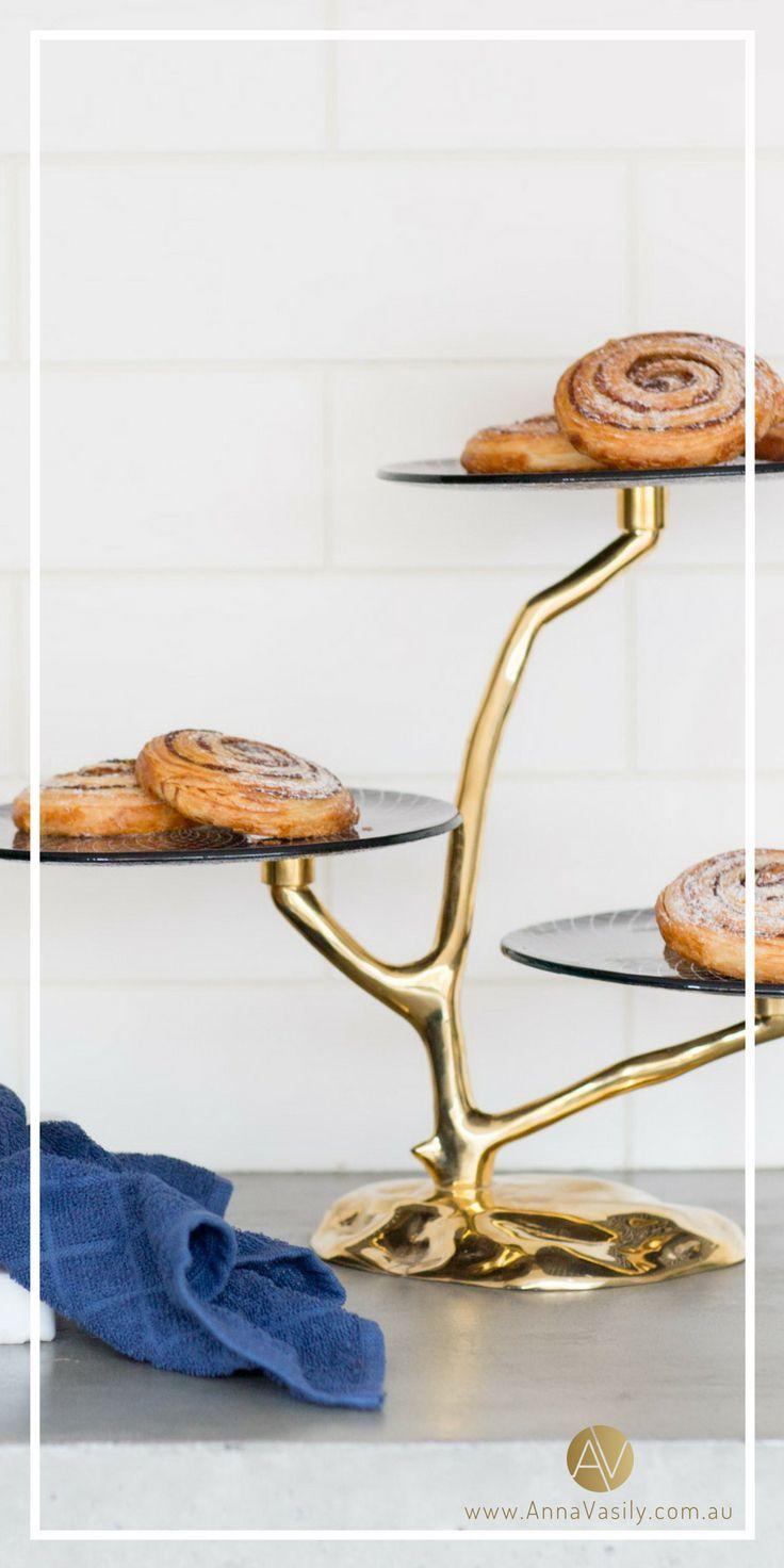 Annavasily Musi Modern Blue High Tea Dessert Stand Tea Decor Tea Cake Stand High Tea Decorations