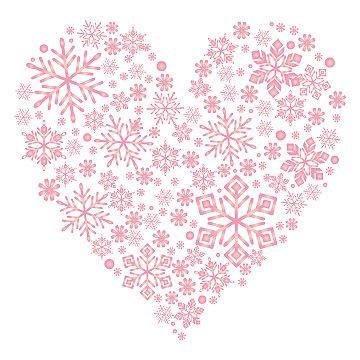雪の結晶が集まって、ハートの形になっています。ピンク色が可愛らしい素材。バレンタインの季節にもぴったりです。