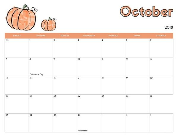picture about Free Printable October Calendar named Oct Calendar Printable 2018 Oct 2018 Calendar