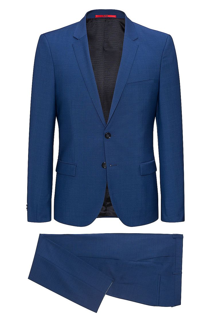 Extra-slim-fit suit in micro-patterned virgin wool  Blue from HUGO for Men for £399.00 in the official HUGO BOSS Online Store free shipping