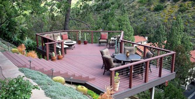 hillside landscaping deck overlook