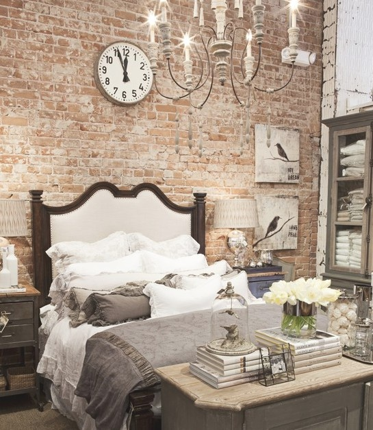 """Can't wait to get going on the """"brick"""" wall in our bedroom...love the masculine/feminine mix. Our bed is iron though with pretty quilts."""