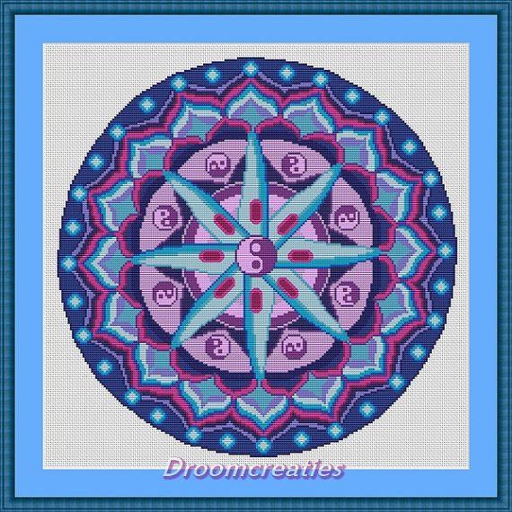 Mandala Planula - digitaal kruissteek borduurpatroon pdf- 189 x 189 kruissteken - 35 x 35 cm