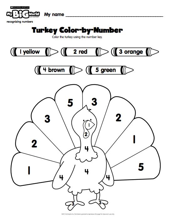 pre k students use a number key to color in a turkey with this printable from my big world. Black Bedroom Furniture Sets. Home Design Ideas