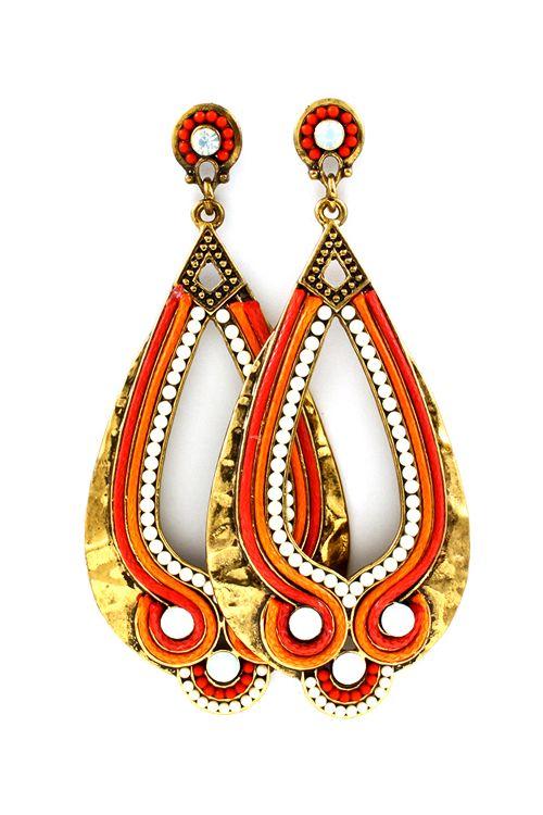 Coral Boho Teardrop Earrings