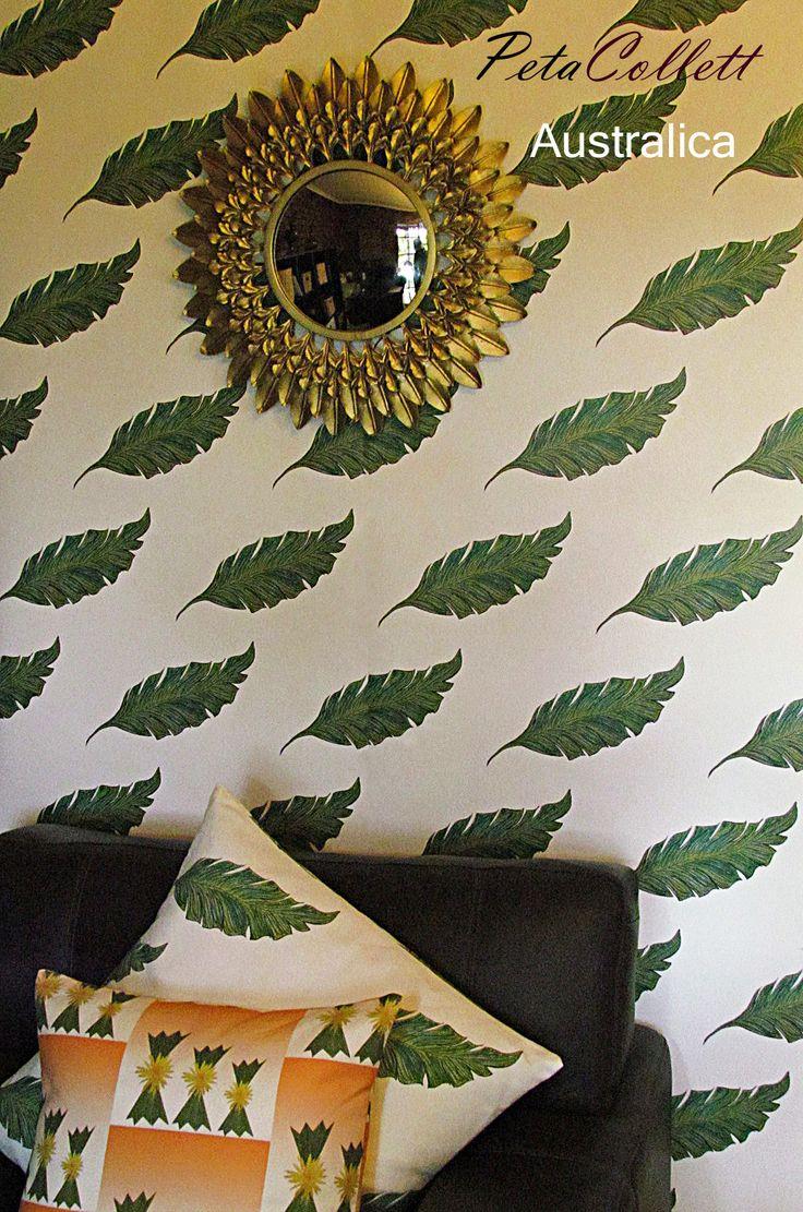 Australica Banana leaf and Desert Sands Cactus with flower cushion print.