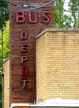 Conroe TX - Trailways Bus Depot Old Neon