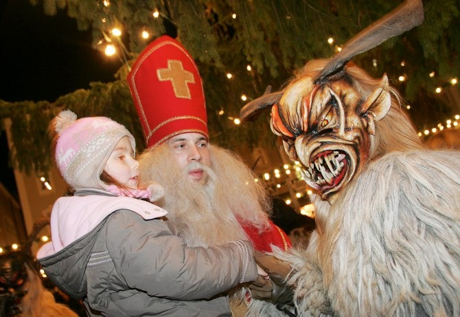 In Austria, young men dress up as the Krampus and roam the streets to frighten children