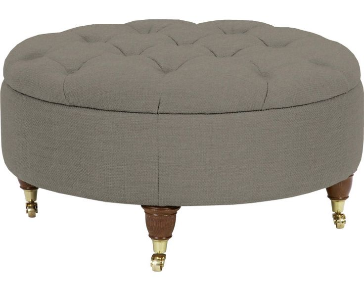 Made to order sofas - Hudson Upholstered Round Footstool in Dalton French Grey | Laura Ashley