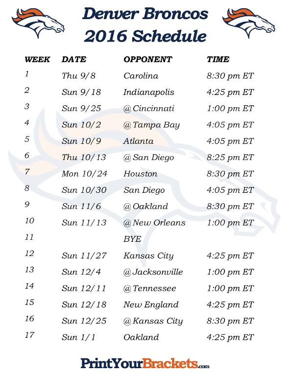 Printable Denver Broncos Schedule - 2016 Football Season