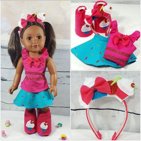 Jessicake Shopkins Shoppie Doll Top Skirt Boots and Headband