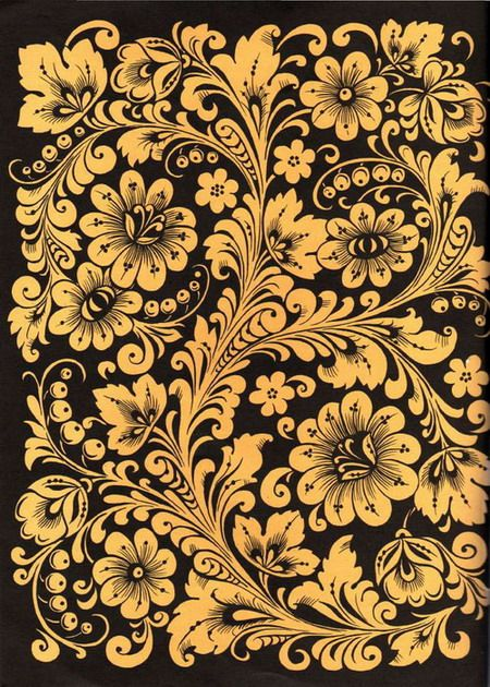 Folk Khokhloma painting from Russia. A floral pattern in black and golden colours.