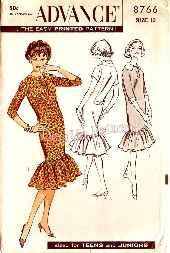 Advance 8776 Vintage 1960s Bombshell Chemise Dress Sewing Pattern by DejaVuPatterns