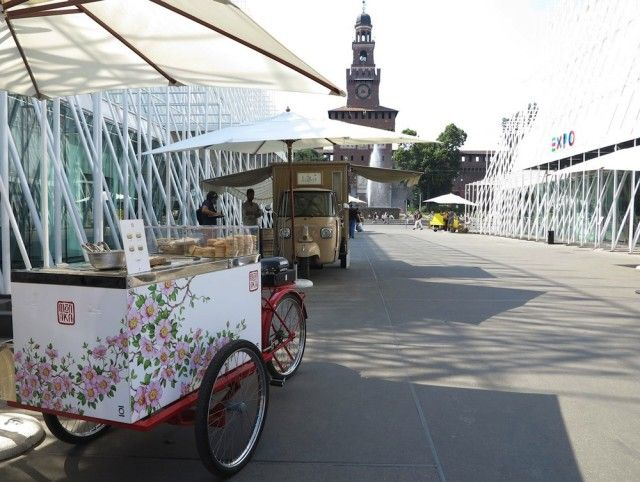 monaka, carretto Idea giapponese, gelato italiano