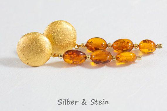 Bernstein Ohrringe Gold groß von SilberundStein auf Etsy