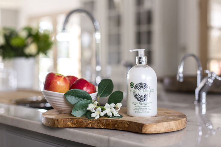 Check out our gorgeous smelling Jasmine & Apple Blossom anti-bacterial hand wash.  At last a glamourous anti-bac for busy cooks!