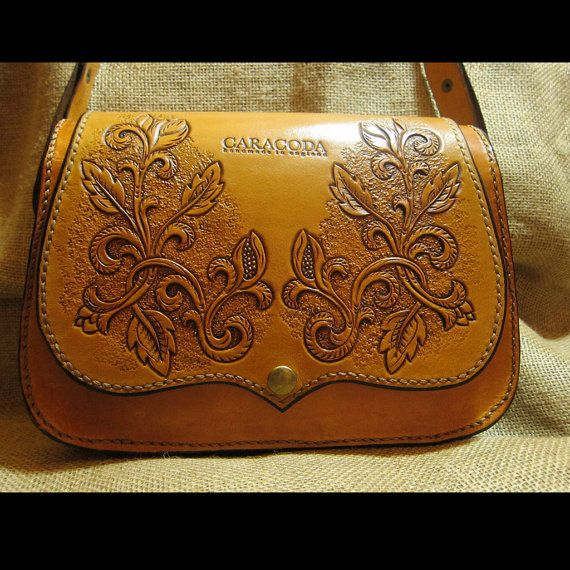 Leather shoulder bag Carmen carved tan color handbag by CARACODA, £179.99