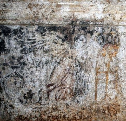 """Angels"" in the Amphipolis Tomb . Photo just released by the Greek Ministry of Culture"