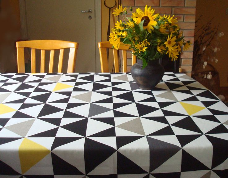 """Cotton Tablecloth Black / White / Gray & Yellow Geometric Motif 57"""" Square / Round Tablecloth; Modern Tablecloth with Graphic Triangle Print (31.00 USD) by MilaStyle"""