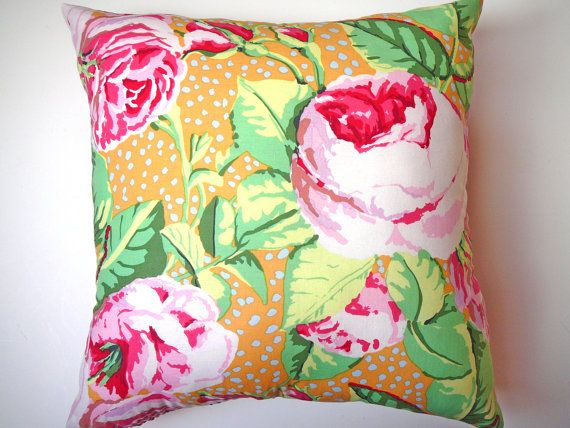 Pink Floral Pillow - Kaffe Fassett Fabric - Rose Decor - Cabbage Rose Pillow - Rose Cushion - Scarletts Cozy Cottage