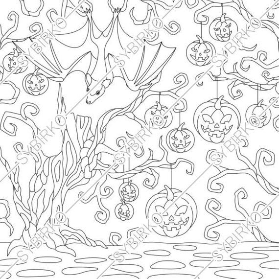 Coloring Pages 4 Halloween Backgrounds Coloring Book For Adults