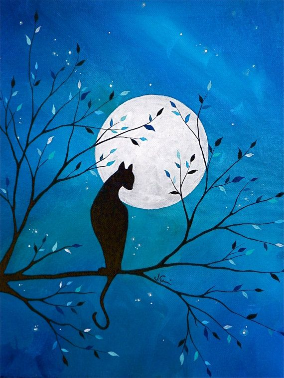 Delilah in the Moon  ORIGINAL acrylic on canvas by xXSnapDragon, $225.00